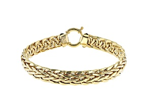Pre-Owned 18K Yellow Gold Over Sterling Silver 10MM High Polished Bold Wheat Link 8 Inch Bracelet
