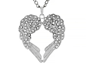 Pre-Owned White Crystal Silver Tone Angel Wing Heart Pendant With Chain
