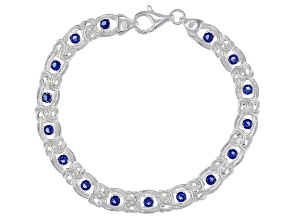 Pre-Owned Blue Cubic Zirconia Byzantine Link Sterling Silver Bracelet. 16.20ctw