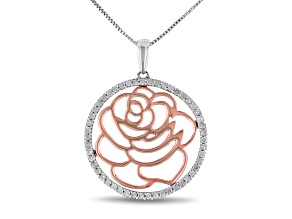 Pre-Owned Enchanted Disney Belle Rose Pendant White Diamond Rhodium & 14k Rose Gold Over Silver 0.20