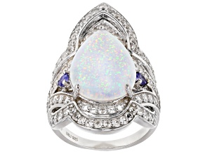 Pre-Owned White Lab Created Opal Rhodium Over Sterling Silver Ring 1.83ctw