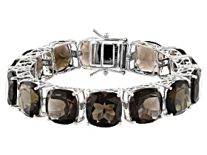 Pre-Owned Brown Smoky Quartz Rhodium Over Sterling Silver Bracelet 100.00ctw