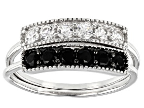 Pre-Owned Black Spinel Rhodium Over Sterling Silver Set of 2 Rings 1.00ctw
