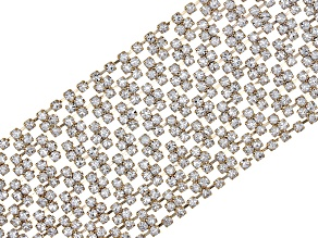 Pre-Owned White Crystal Gold Tone Statement Bracelet