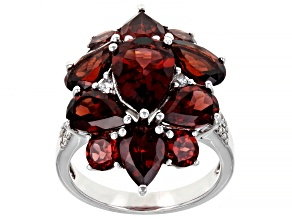 Pre-Owned Red Garnet Rhodium Over Sterling Silver Cluster Ring 7.72ctw