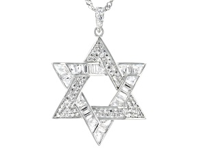 Pre-Owned White Cubic Zirconia Rhodium Over Sterling Silver Star Of David Pendant With Chain 4.48ctw