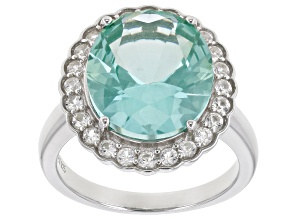 Pre-Owned Green Lab Created Spinel Rhodium Over Sterling Silver Ring 8.32ctw