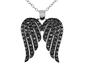 "Pre-Owned Black Spinel Rhodium Over Sterling Silver ""Angel Wings"" Pendant With Chain 1.38ctw"