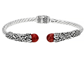 Pre-Owned Red Coral Sterling Silver Butterfly Bracelet