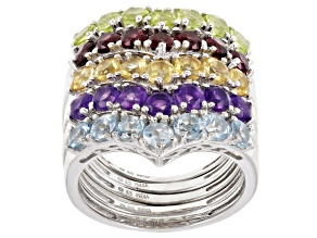 Pre-Owned Multi Stone Rhodium Over Silver Set of 5 Rings 4.25ctw