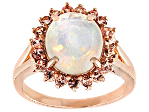 Pre-Owned Multi-Color Ethiopian Opal 18k Rose Gold Over Sterling Silver Halo Ring 2.89ctw