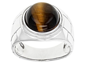 Pre-Owned Brown Tigers Eye Rhodium Over Sterling Silver Mens Ring