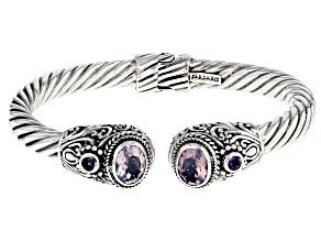 Pre-Owned Blue Quartz And Amethyst Silver Bracelet .26ctw