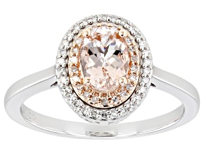 Pre-Owned Pink Morganite 10K White Gold Halo Ring 0.91ctw