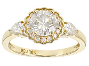 Pre-Owned Moissanite 10k yellow gold ring 1.34ctw DEW.
