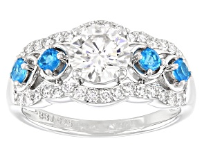 Pre-Owned Moissanite and neon apatite platineve ring 1.32ctw DEW.