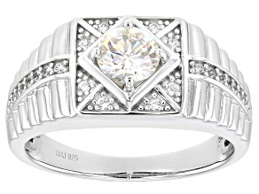 Pre-Owned Fabulite Strontium Titanate And White Zircon Rhodium Over Silver Mens Ring 1.32ctw.