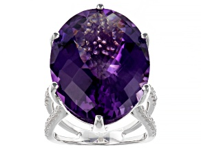 Pre-Owned Purple Amethyst Rhodium Over Sterling Ring 20.85ctw