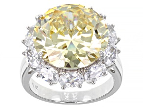 Pre-Owned Yellow And White Cubic Zirconia Rhodium Over Silver Ring 19.75ctw