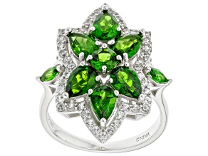 Pre-Owned Chrome Diopside Rhodium Over Silver Ring 3.57ctw