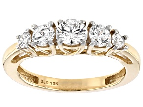 Pre-Owned White Cubic Zirconia 10K Yellow Gold Ring 1.93ctw (0.9ctw DEW)