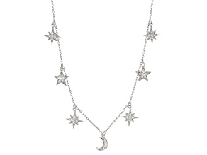 Pre-Owned White Cubic Zirconia Rhodium Over Sterling Silver Celestial Necklace 0.85ctw