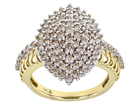 Pre-Owned Candlelight Diamonds™ 10k Yellow Gold Cluster Ring 1.50ctw