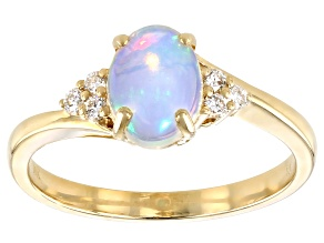 Pre-Owned White Ethiopian Opal 10k Yellow Gold Ring 0.66ctw