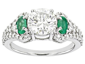 Pre-Owned Moissanite and Zambian emerald platineve ring 1.92ctw DEW.