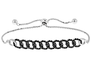 Pre-Owned Black Spinel Rhodium Over Sterling Silver Bolo Bracelet 0.80ctw