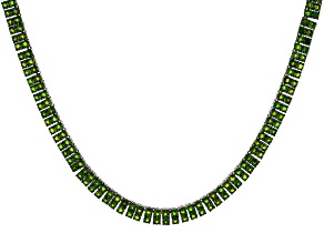 Pre-Owned Green Chrome Diopside Rhodium Over Sterling Silver Tennis Necklace 34.26ctw