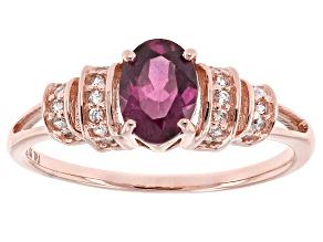 Pre-Owned Grape Color Garnet 10k Rose Gold Ring .83ctw
