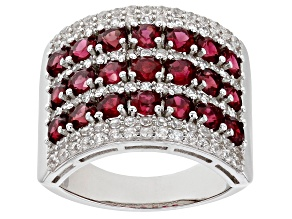 Pre-Owned Red Spinel Rhodium Over Sterling Silver Band Ring. 3.68ctw