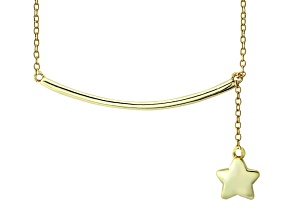 Pre-Owned Hanging Star Frontal Bar 18k Yellow Gold Over Sterling Silver Adjustable 16 inch Necklace