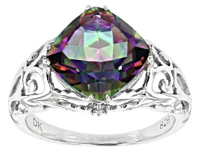 Pre-Owned Multicolor Quartz Rhodium Over Silver Ring 3.42ctw