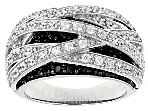 Pre-Owned Black Spinel And White Cubic Zirconia Rhodium Over Sterling Silver Ring 3.3ctw