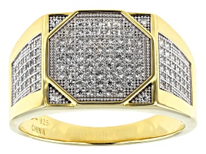Pre-Owned White Cubic Zirconia 18K Yellow Gold Over Sterling Silver Men's Ring 0.90ctw