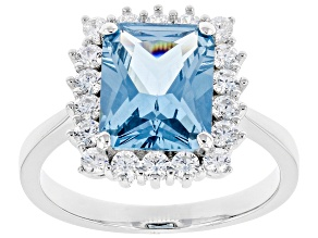 Pre-Owned Lab Created Blue Spinel And White Cubic Zirconia Rhodium Over Sterling Silver Ring 4.57ctw