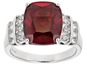 Pre-Owned Red Lab Created Ruby Rhodium Over Sterling Silver Ring 6.18ctw