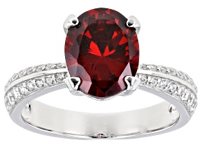 Pre-Owned Red and White Cubic Zirconia Rhodium Over Sterling Silver Ring 4.14ctw