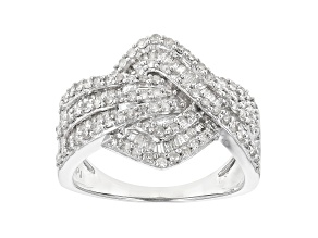 Pre-Owned White Diamond Rhodium Over Sterling Silver Cluster Ring 1.00ctw