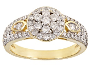 Pre-Owned White Diamond 3k Gold Cluster Ring 0.65ctw
