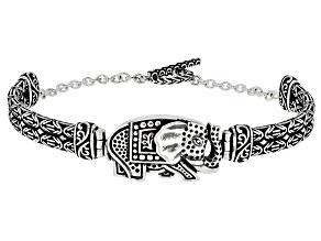 Pre-Owned Sterling Silver Oxidized Elephant 7.5 Inch Bracelet