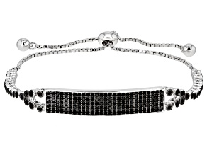 Pre-Owned Black Spinel Rhodium Over Silver Bolo Bracelet 1.61ctw