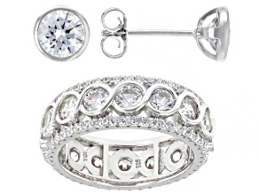 Pre-Owned White Cubic Zirconia Rhodium Over Sterling Silver Ring And Earrings 9.30ctw