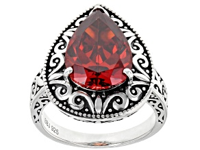 Pre-Owned Red Cubic Zirconia Rhodium Over Sterling Silver Ring 8.73ctw