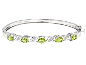 Pre-Owned Green Peridot Rhodium Over Sterling Silver Bangle Bracelet 2.05ctw