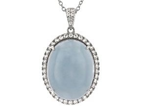 Pre-Owned Blue Aquamarine Rhodium Over Sterling Silver Pendant With Chain 26.41ctw