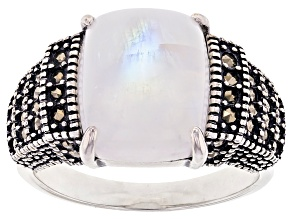 Pre-Owned Rainbow Moonstone with Marcasite Rhodium Over Sterling Silver Ring.