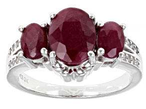 Pre-Owned Red Ruby Rhodium Over Sterling Silver Ring 3.65ctw